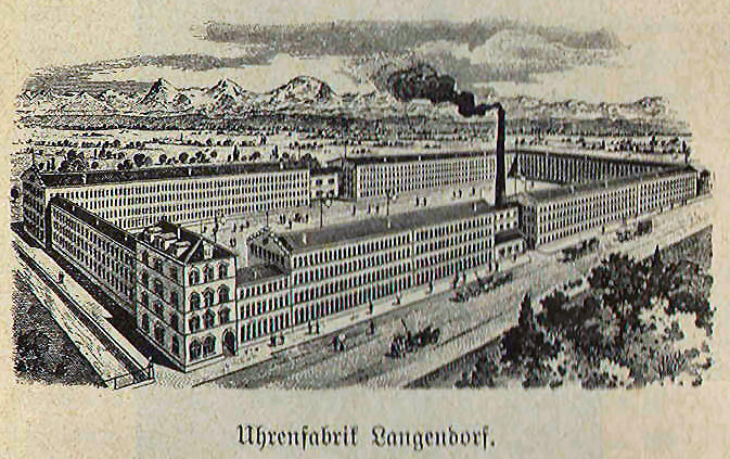 Langendorf Uhrenfabrik - rysunek z końca XIX wieku