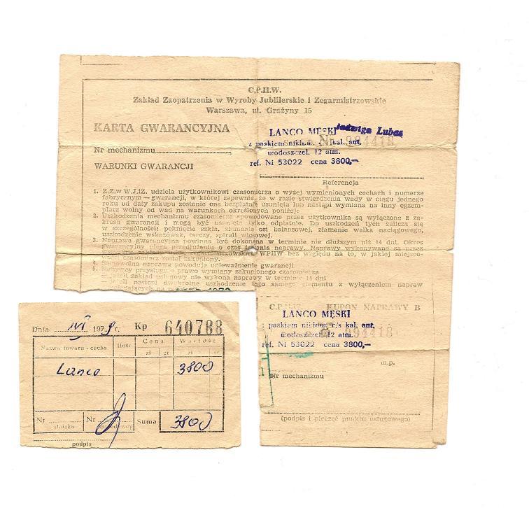 Karta gwarancyjna + paragon z lat 70' - zdjęcie poglądowe