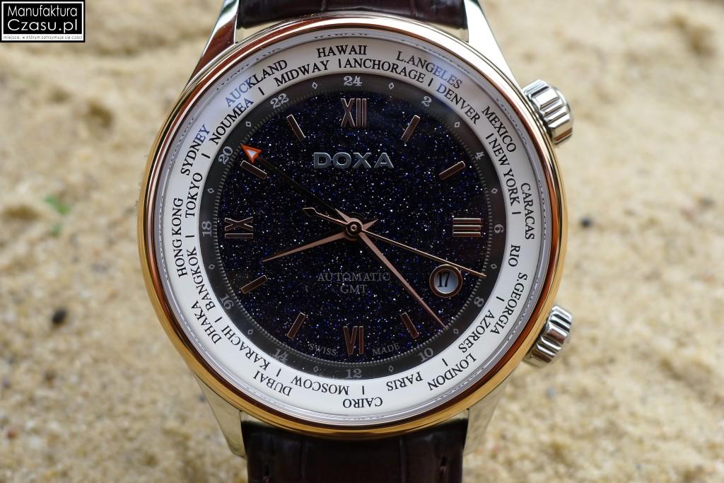 DOXA Blue Planet GMT Limited Edition - pierścień w okół tarczy wykonany z 18k złota